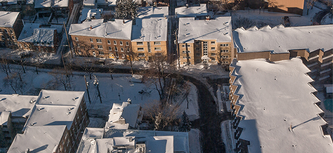 snow covered rooftops via street view